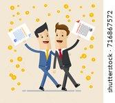 two happy business men ... | Shutterstock .eps vector #716867572