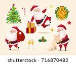 santa clauses set for christmas ... | Shutterstock .eps vector #716870482