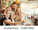 group of happy smiling people... | Shutterstock . vector #716872822