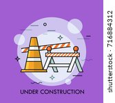 traffic cone  road safety... | Shutterstock .eps vector #716884312
