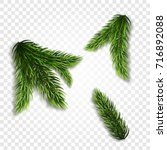 collection of fir branches. set ... | Shutterstock .eps vector #716892088