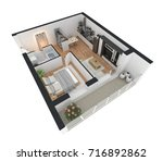 3d rendering of furnished home... | Shutterstock . vector #716892862