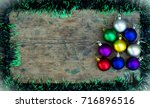 copy space christmas background ... | Shutterstock . vector #716896516