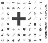 add plus icon black icon on the ... | Shutterstock .eps vector #716897026