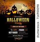 halloween party invitation with ... | Shutterstock .eps vector #716900098