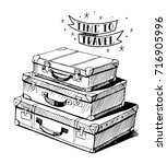sketch of a suitcase. old... | Shutterstock .eps vector #716905996