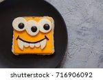 funny monster sandwich for kids ... | Shutterstock . vector #716906092