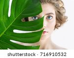 beautiful young woman with... | Shutterstock . vector #716910532