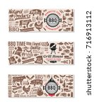 vector barbecue banners. bbq ... | Shutterstock .eps vector #716913112