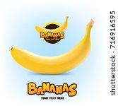 realistic banana vector logo... | Shutterstock .eps vector #716916595