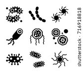 bacteria icon set | Shutterstock .eps vector #716918818