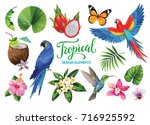 tropical collection for jungle... | Shutterstock .eps vector #716925592