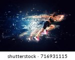 athletic woman fast runner with ... | Shutterstock . vector #716931115