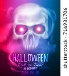 halloween party flyer or... | Shutterstock .eps vector #716931706