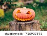 autumn helloween pumpkin | Shutterstock . vector #716933596