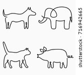 Animals One Line Drawing....