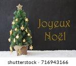 tree  joyeux noel means merry... | Shutterstock . vector #716943166