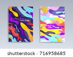 fluid color covers set.... | Shutterstock .eps vector #716958685