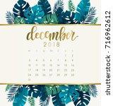 december   2018 calendar... | Shutterstock .eps vector #716962612