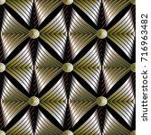 modern abstract gold striped 3d ... | Shutterstock .eps vector #716963482