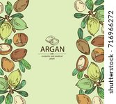 background with argan  leaves... | Shutterstock .eps vector #716966272