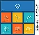 set of 7 adventure outline... | Shutterstock .eps vector #716976862