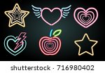 neon light symbols in different ... | Shutterstock .eps vector #716980402