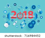 2018 new year fitness concept... | Shutterstock .eps vector #716984452