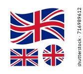 great britain flag set.... | Shutterstock .eps vector #716989612