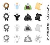 funeral wreath  angel  grave in ... | Shutterstock .eps vector #716996242
