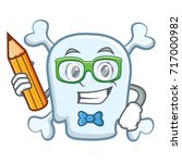 student with pencil skull... | Shutterstock .eps vector #717000982