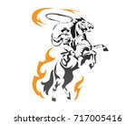 passionate flaming american...   Shutterstock .eps vector #717005416