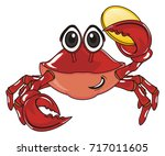 crab hold a large golden cent | Shutterstock . vector #717011605