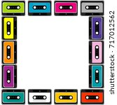 colorful frame with audio tape... | Shutterstock . vector #717012562