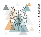 geometric wolf illustration.... | Shutterstock .eps vector #717013102