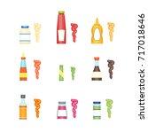 cartoon sauces bottle set... | Shutterstock .eps vector #717018646