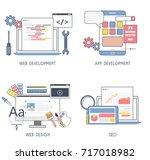 set of flat design of web... | Shutterstock .eps vector #717018982