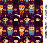 seamless halloween background...   Shutterstock .eps vector #717035902