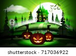 halloween pumpkins and dark... | Shutterstock .eps vector #717036922