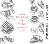 vector sketch of fast food pub... | Shutterstock .eps vector #717042205