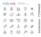 collection of christmas thin... | Shutterstock .eps vector #717044605