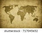 grunge map of the world | Shutterstock . vector #717045652
