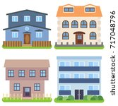 set of four private houses on a ... | Shutterstock .eps vector #717048796