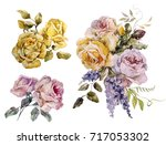 watercolor set of illustration... | Shutterstock . vector #717053302
