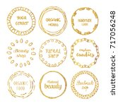 set of gold hand drawn circle...   Shutterstock .eps vector #717056248