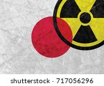japan flag with radiation sign | Shutterstock .eps vector #717056296