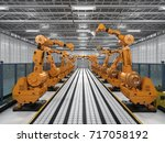 3d rendering robot arms with... | Shutterstock . vector #717058192