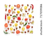 food collage of fresh... | Shutterstock . vector #717059086