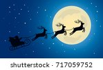 christmas greeting card. santa... | Shutterstock .eps vector #717059752