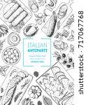 italian food top view  vertical ... | Shutterstock .eps vector #717067768